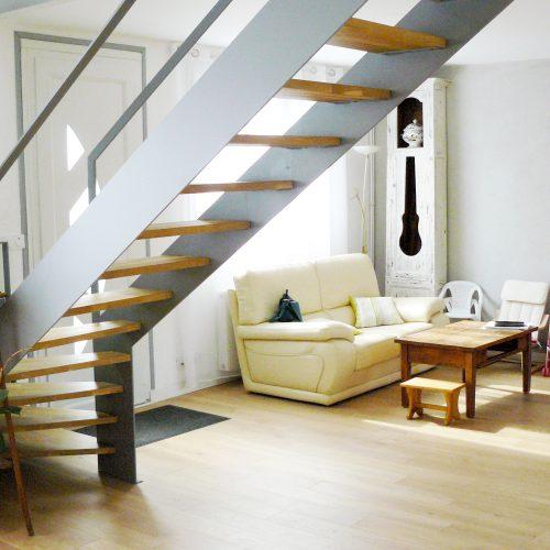 Le2bis-Agence d'architecture toulouse-Rénovation Villa V - L'union - Ilot cuisine - Escalier Métal