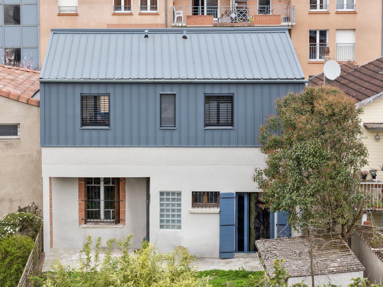 Le2bis-Agence d'architecture toulouse-Surélévation contemporaine minimaliste Maison Toulouse-Façade sur jardin-Vue H