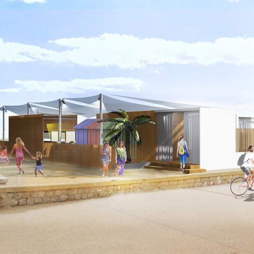 Le2bis-Agence d'architecture toulouse-Restaurant éphémère Leucate Plage - Perspective et insertion - Volumétrie 3D