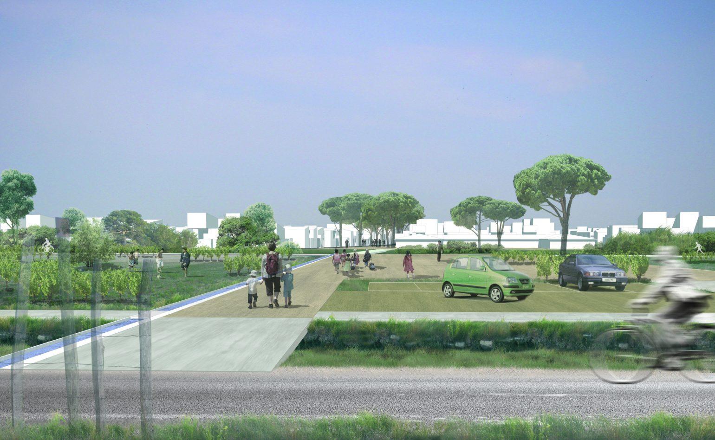 Le2bis Atelier- Aménagement de la ZAC de la Laune - Marsillargues - Projet d'ensemble - Perspective depuis jardins partagés
