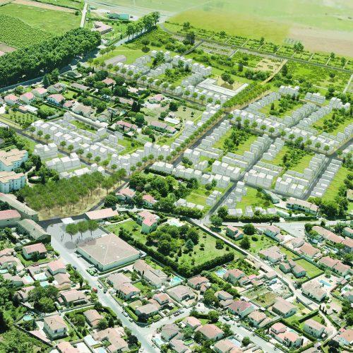 Le2bis-Agence d'architecture toulouse-ZAC Aménagement Marsillargues - Vue 3D - Volumétries Organisation Ilots Découpage Parcellaire