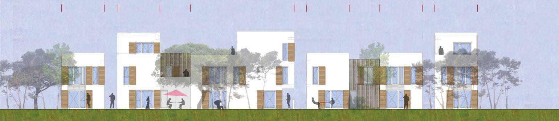 Le2bis Atelier- Aménagement de la ZAC de la Laune - Marsillargues - Maisons groupées - Façades sur parc