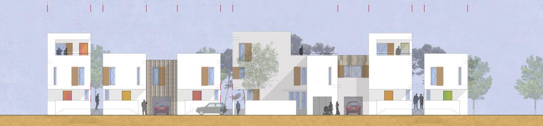Le2bis Atelier- Aménagement de la ZAC de la Laune - Marsillargues - Maisons groupées - Façades sur rue