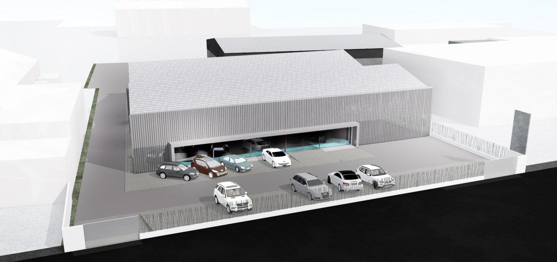 Le2bis-Transformation d'un hangar Tertiaire Concession SUD VO-Façade Sud - Bardage Métal micro-perforé - Rue intérieure - Agence de Nîmes