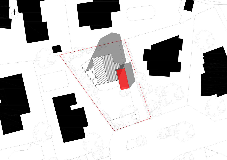 Le2bis Atelier -Extension de Maison Ossature bois-Plan masse - Agrandissement d'une maison d'habitation, Architecture contemporaine Construction ossature bois et bardage en bois brulé