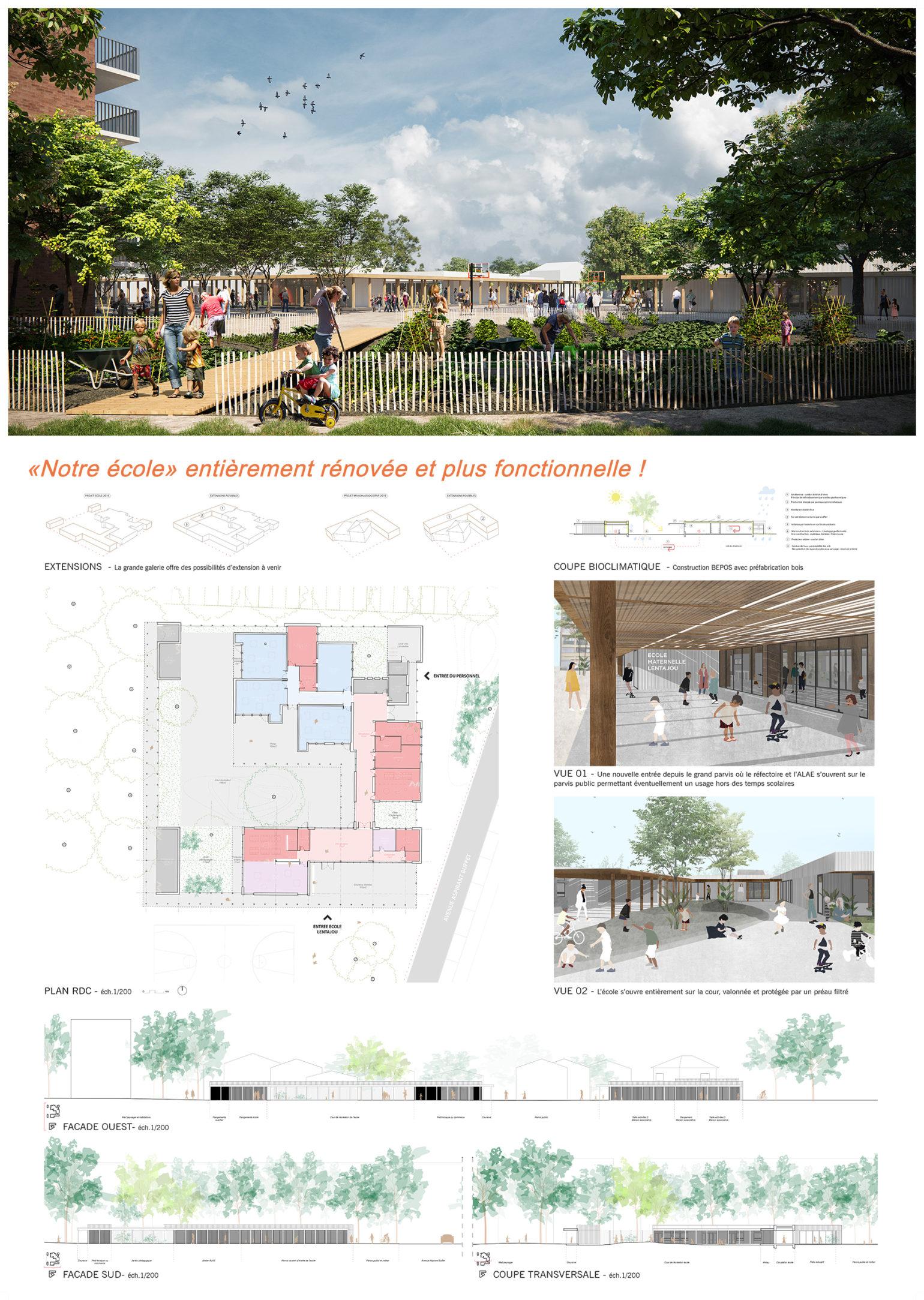Le2bis-Concours Lentajou - Planche concours - 1 - Ecole rénovée et fonctionnelle - quartier Lentajou