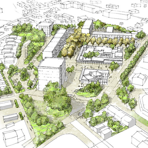 Le2bis-Agence d'architecture toulouse-Concours Lentajou - Axonométrie futur quartier Lentajou