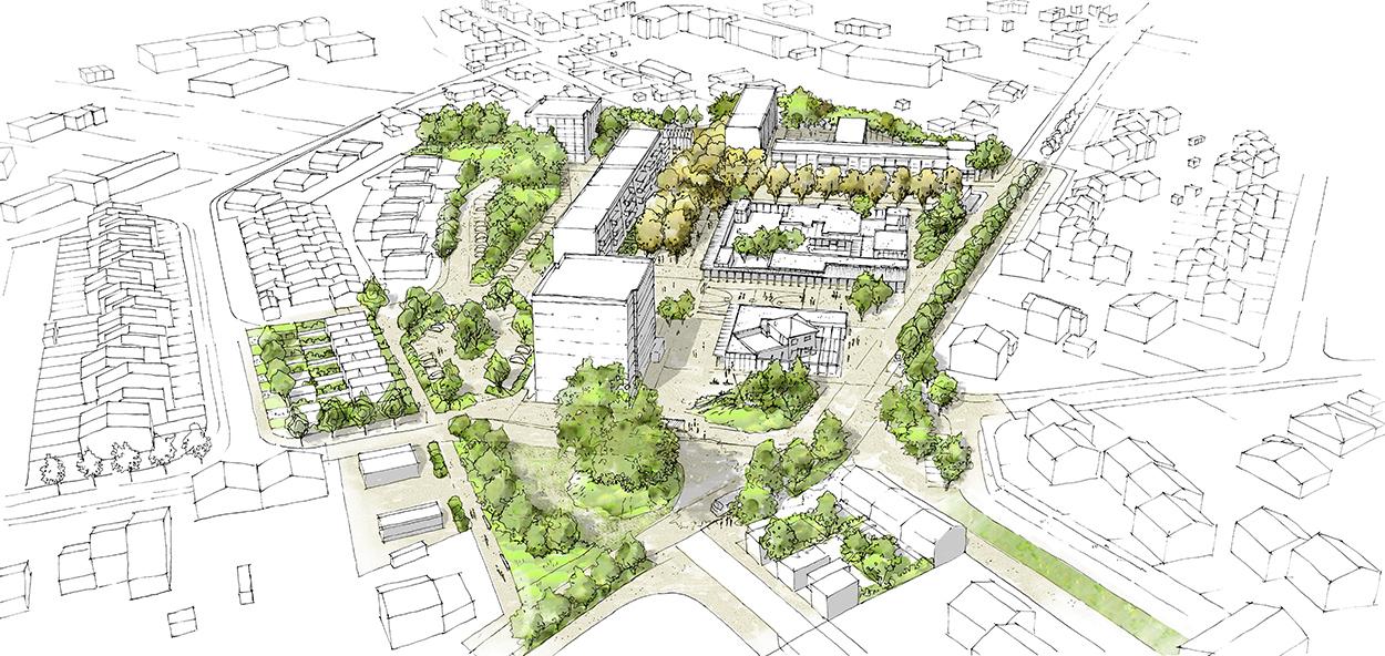 Le2bis-Concours Lentajou - Plan du futur quartier Lentajou - Renouvellement urbain - Vue aérienne du Quartier
