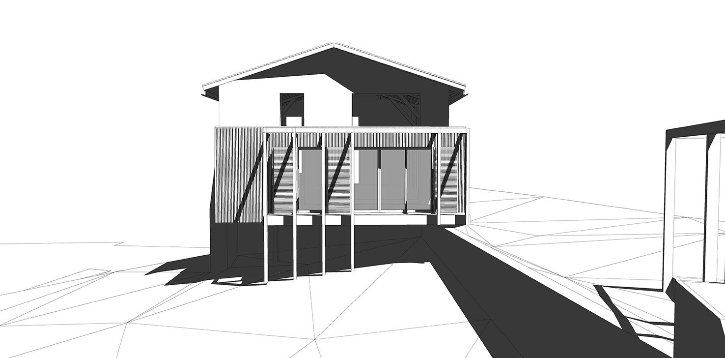 Le2bis-Extension contemporaine bois-Ariège-Façade Ouest