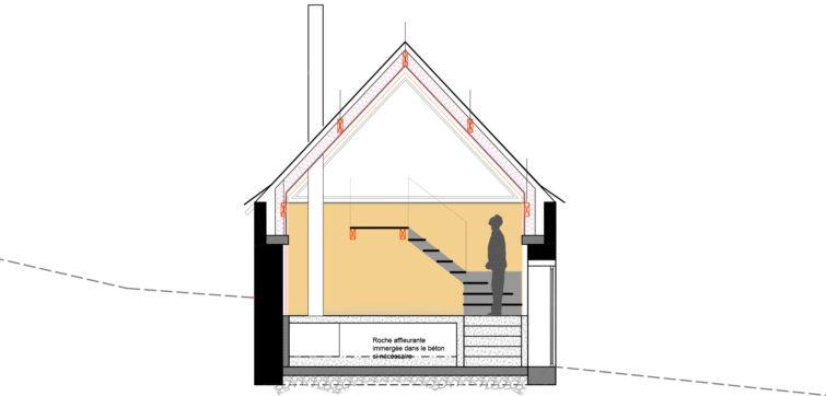 Le2bis-Rénovation grange-Coupe projet-Strates matériaux